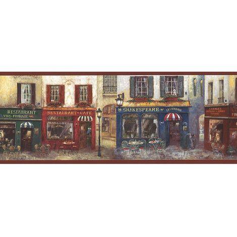 Norwall Cafe Burgundy Wallpaper Border
