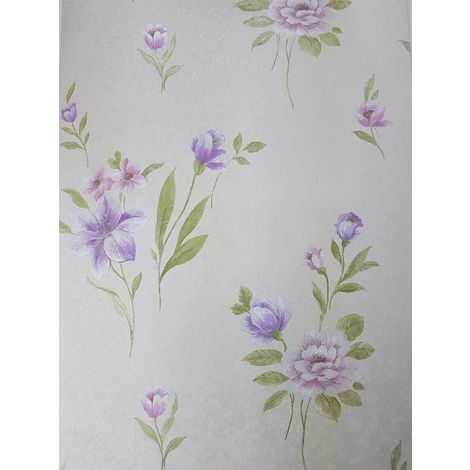 Norwall Floral Purple/ Cream Wallpaper