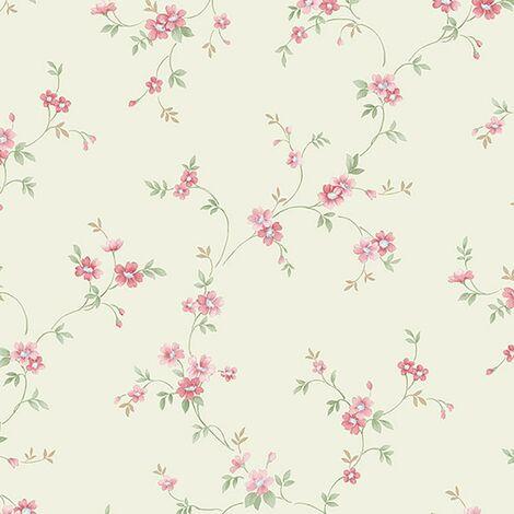 Norwall Flower Trail Floral Wallpaper Cream Pink Green Garden Vine Rose