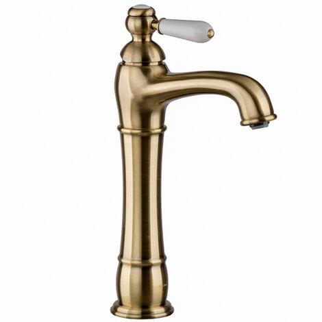 Nostalgie Armatur Bronze Messing Lang für Aufsatzwaschbecken