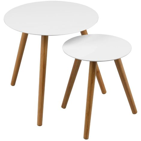 Nostra nest of 2 tables, white high gloss, hardwood legs