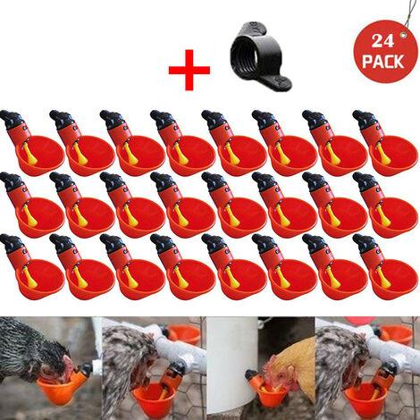Nourrir les tasses à boire de l'eau de buveur de volaille de poulet de volaille de poulailler automatique 24pcs