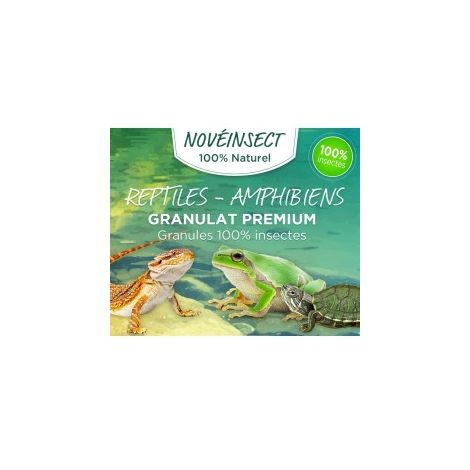 Nourriture pour reptiles, tortue, salamandres, grenouilles granules 100 % insectes - 110 grammes