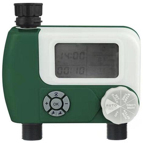 Nouveau dispositif a double arrosage minuterie arrosage d'interface ecran intelligent grand minuteur d'affichage numerique arrosage outil d'irrigation, noir