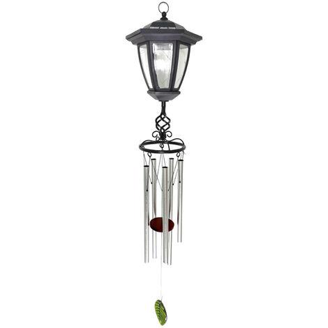Nouveau Style Panneau Solaire Windbell Lampe Metal Aluminium Tube Pendentif Musicale Chimes Exterieur Jardin Lumieres Decoratives