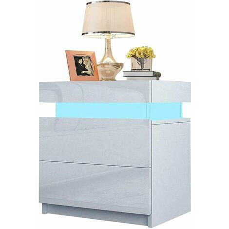NOUVEAU Table de Chevet Blanc- Table de Nuit - Moderne, 2 Tiroirs, LED RGB, Mat��riel MDF, 35x45x52CM