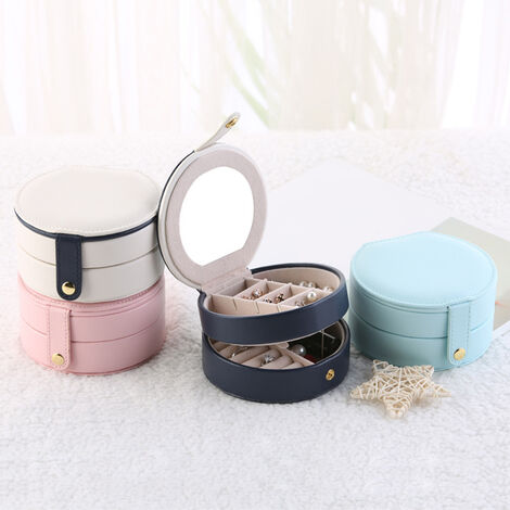 Nouvelle boite a bijoux multicouche petite boite a bijoux portable a trois couches rose clair 11 * 11 * 5.8 cm