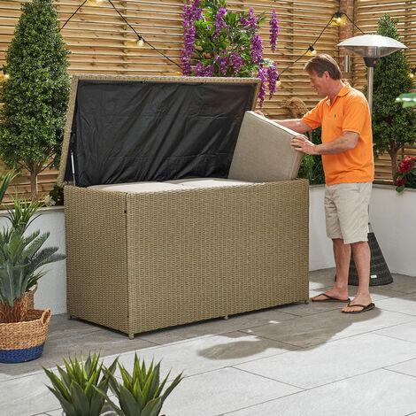 Nova Garden Furniture Willow Rod Rattan Outdoor Patio Lawn Cushion Storage Box Natural