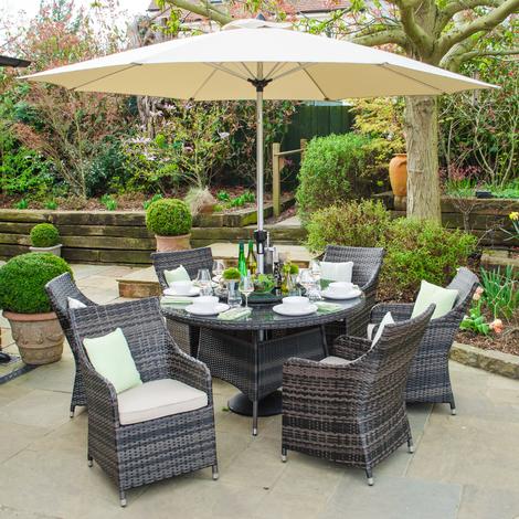 928abf91ad4e Nova Rattan Garden Furniture Lyon 6 Seat 1.35m Round Outdoor Dining Set -  Brown