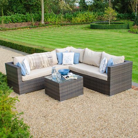 db4e602725f6 Nova Rattan Garden Furniture Lyon Outdoor Patio Corner Sofa & Table Set -  Brown