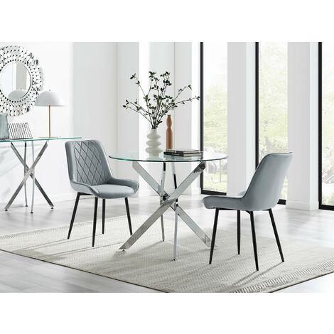 "main image of ""Novara 100cm Round  Dining Table and 2 Pesaro Black Leg Chairs"""
