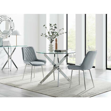 "main image of ""Novara 100cm Round  Dining Table and 2 Pesaro Silver Leg Chairs"""