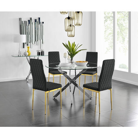 """main image of """"Novara 120cm Round Dining Table and 6 Gold Leg Milan Chairs"""""""