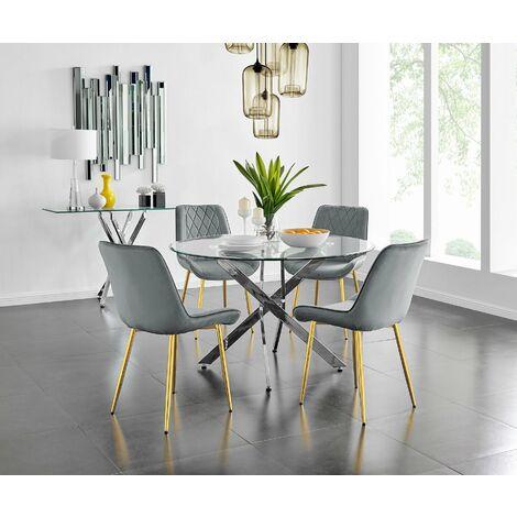 "main image of ""Novara 120cm Round Dining Table and 6 Pesaro Gold Leg Chairs"""