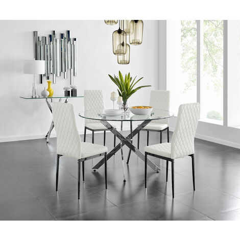 "main image of ""Novara 120cm Round Dining Table and 4 Milan Black Leg Chairs"""