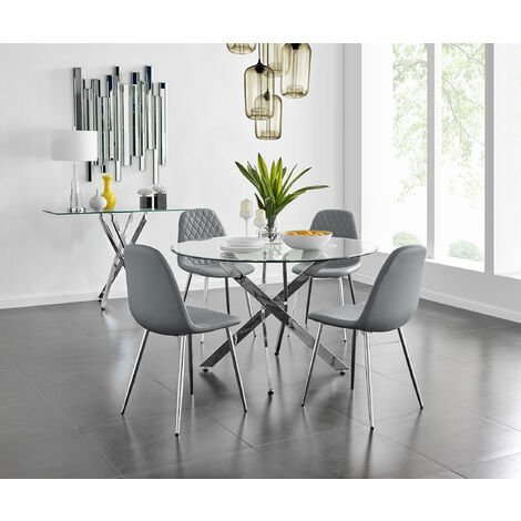 """main image of """"Novara Chrome Metal And Glass Large 120cm Round Dining Table And 4 or 6 Corona Silver Chairs Set"""""""