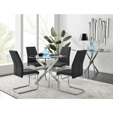 Novara Chrome Metal Round Glass Dining Table And 4 Lorenzo Dining Chairs