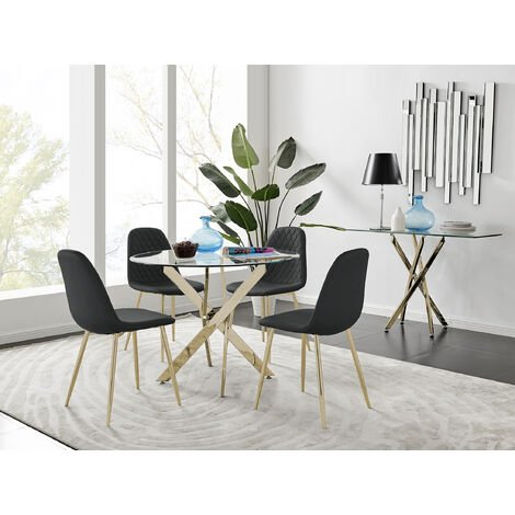 """main image of """"Novara Gold Metal 100cm Round Glass Dining Table And 4 Corona Gold Dining Chairs"""""""