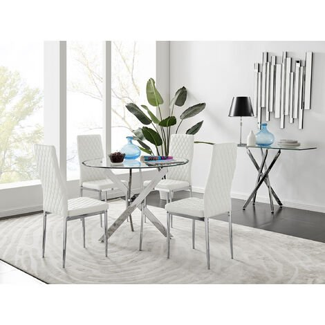 Novara Round Chrome Metal And Glass Dining Table And 4 Milan Dining Chairs Set