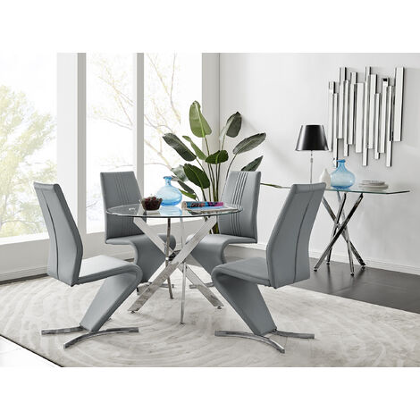 Novara Round Chrome Metal And Glass Dining Table And 4 Willow Dining Chairs Set