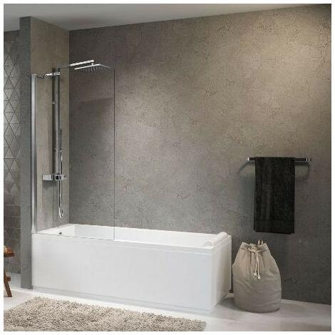 Novellini - Pare-baignoire fixe 70 x H.150 cm vitrage transparent profilé blanc - AURORA570-1A