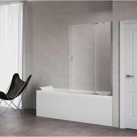 Novellini Pare-baignoire Kuadra 3V avec un élemént fixe et une porte pivotante à 180°   Chromè