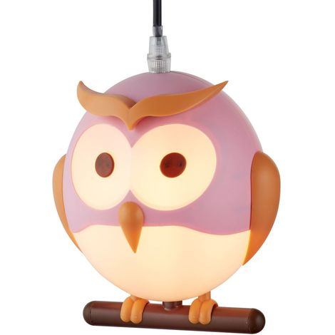 NOVELTY CHILDRENS OWL PENDANT, PINK