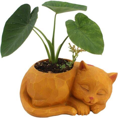 Novelty Lazy Cat Flowerpot Innovative Cat Succulent Planter Decorative Animal Flower Pot Mini Ceramic Cartoon Grass Plant Pot box without Plant