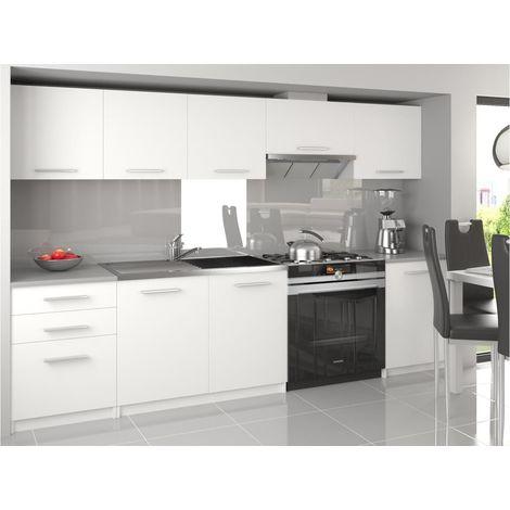 NOVIA | Cuisine Complète Modulaire Linéaire 240/180 cm 7 pcs | Plan de travail INCLUS | Ensemble armoires meubles cuisine | Blanc - Blanc