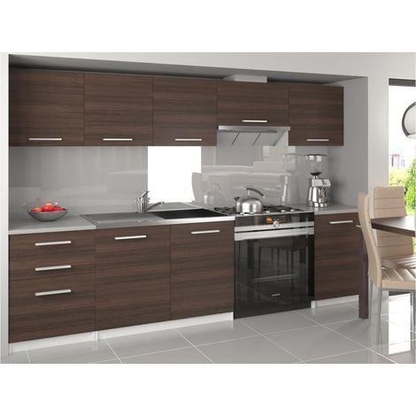 NOVIA - Cuisine Complète Modulaire Linéaire 240/180cm 7 pcs - Plan de travail INCLUS - Ensemble armoires meubles cuisine - Châtaigne