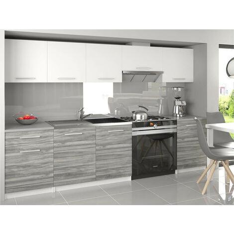 NOVIA - Cuisine Complète Modulaire Linéaire L 240/180 cm 7 pcs - Plan de travail INCLUS - Ensemble armoires meubles cuisine - Blanc-Silver