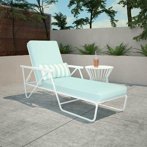 Novogratz Connie Outdoor Garden Patio Chaise Lounge Sun Lounger Aqua Blue