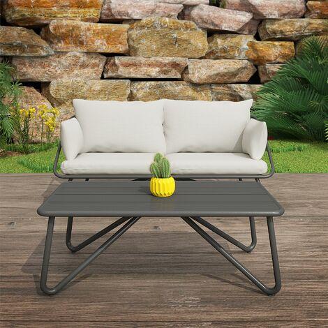 Novogratz Teddi Outdoor Conversation Loveseat & Coffee Table Set Charcoal & Grey