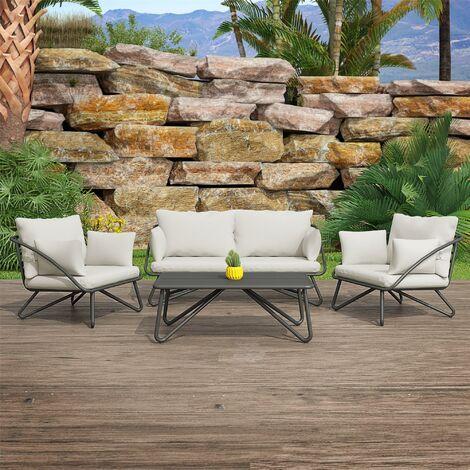 Novogratz Teddi Outdoor Garden Conversation Sofa Chair Table Set Charcoal & Grey