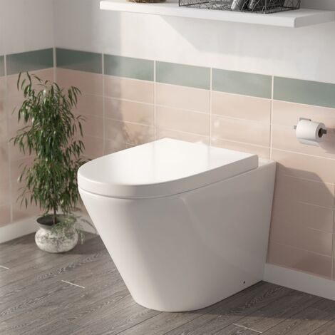 Nox Bathroom Close Coupled WC Toilet Pan Soft Close Slim Seat and Cistern