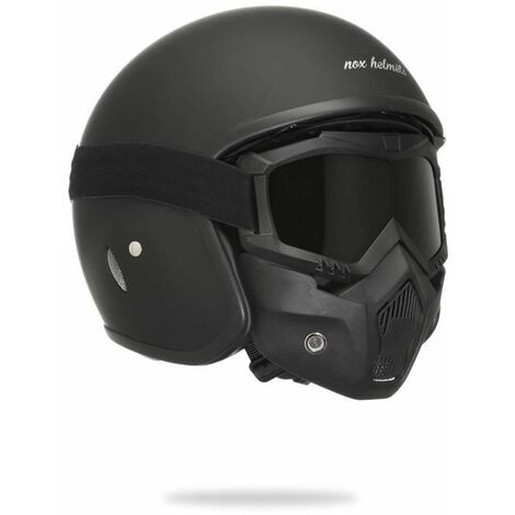 NOX N237 Casque Jet Noir Mat avec Masque Intégral