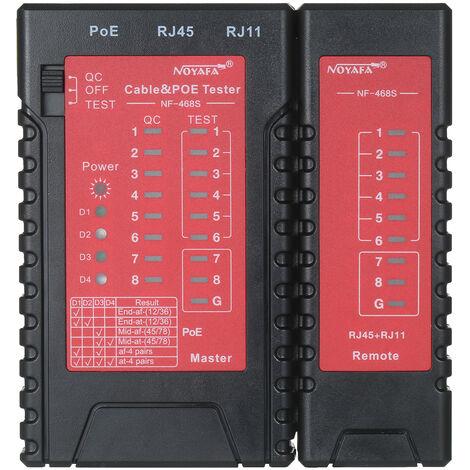 NOYAFA RJ45 RJ11 Probador de cable de red y PoE, probador de linea telefonica, probador de cable LAN Ethernet