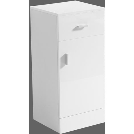 NRG 330mm Gloss White Bathroom Cabinet and Drawer Storage Cupboard Unit With Shelf & Drawer