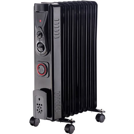NRG 9 Fin Oil Filled Radiator Electric Heaters with 24 Hour Timer Safety Thermal Cut Off 2KW Black