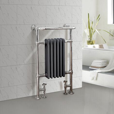 NRG Bathroom Cast Iron Radiator Traditional Heated Towel Rail Column Rads Anthracite 952 x 568mm