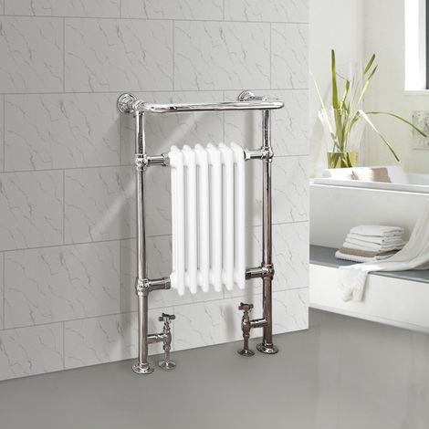 NRG Bathroom Cast Iron Radiator Traditional Heated Towel Rail Column Rads White 952 x 568mm