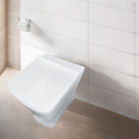 NRG Bathroom Design White Ceramic Toilet Back to Wall Toilet Pan & Soft Close Seat
