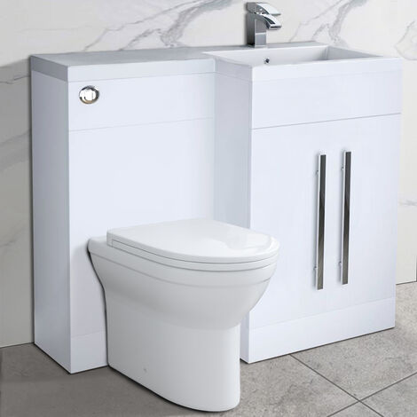 NRG Bathroom Right Hand Storage Furniture Combination Vanity Unit Set with Toilet White
