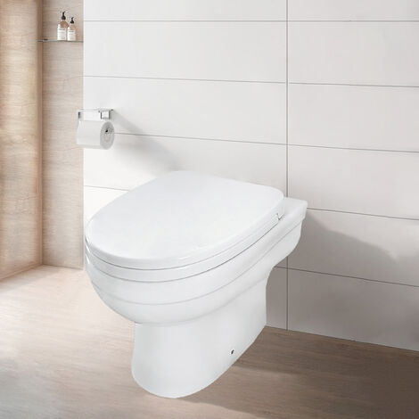 NRG Bathroom Toilet Ceramic Comfort Back to Wall Pan with PP Seat Cover