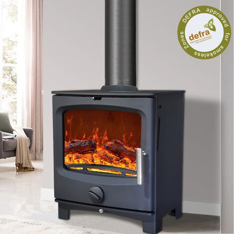 NRG Defra 5KW Contemporary Wood Burning Multifuel Woodburning Stove Eco Design High Efficiency Fireplace