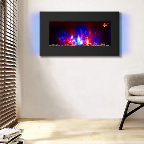 NRG Electric Fire Wall Mounted Flat Glass Electric Fire Multi Colour Flames 1Kw & 2Kw Heater with Timer