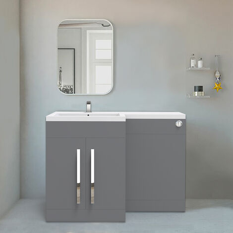 NRG Gloss Grey Left Hand Bathroom Cabinet Furniture Combination Vanity Unit Set (No Toilet)