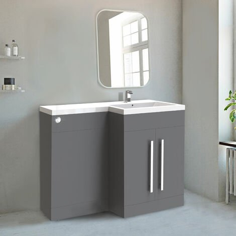 NRG Gloss Grey Right Hand Bathroom Cabinet Furniture Combination Vanity Unit Set (No Toilet)