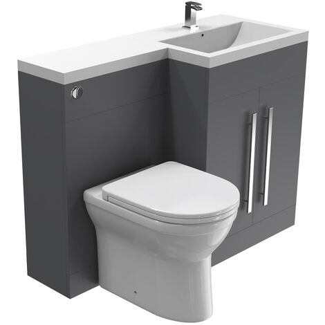 NRG Gloss Grey Right Hand Bathroom Cabinet Storage Furniture Combination Vanity Unit Set with Toilet