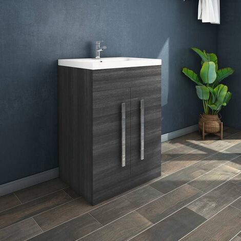 NRG Grey Bathroom Furniture Storage Cabinet Freestanding Vanity Unit & Basin - 600mm